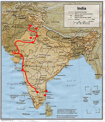 A map of India and Pakistan. The red line shows our journey from Bangalore to the Wagah Border in Punjab.